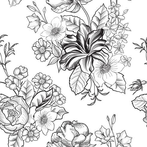 Padrão sem emenda gravado floral. Fundo do jardim de flor