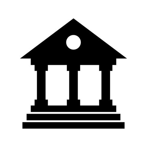 Icono de banco glifo negro vector