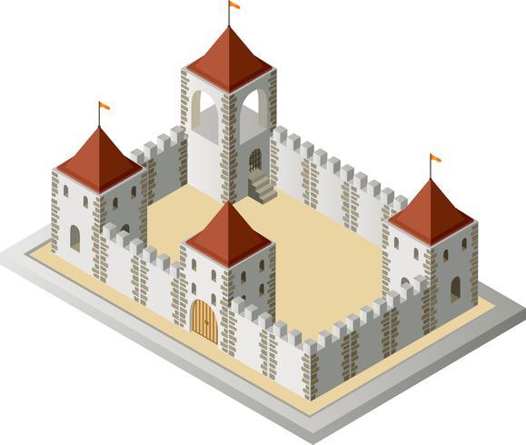 Vista isométrica de un medieval. vector