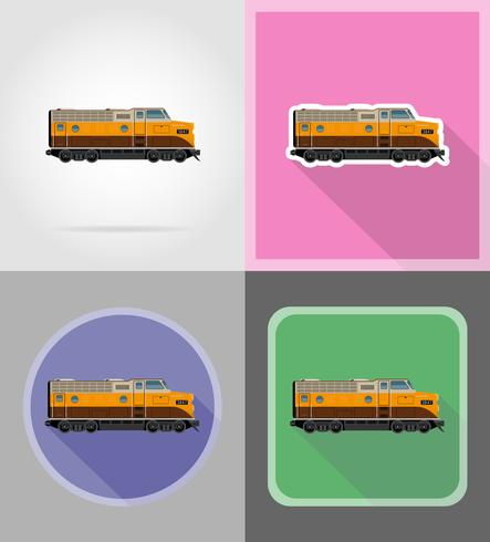 järnväg lokomotiv tåg platt ikoner vektor illustration
