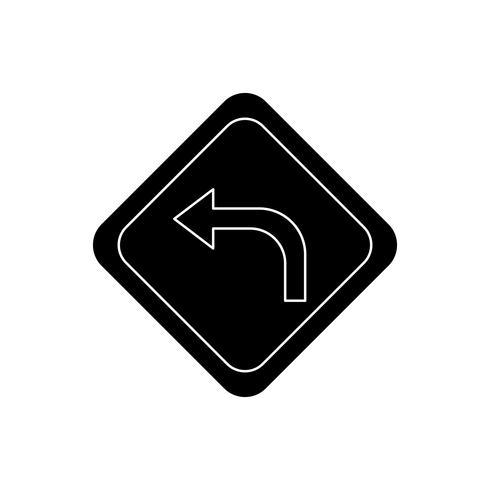 Tourner à gauche glyphe icône noire vecteur
