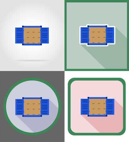 Ilustración de vector de iconos de carga contenedor entrega plana