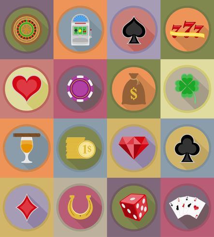 Iconos de casino y equipo plano iconos vector illustration