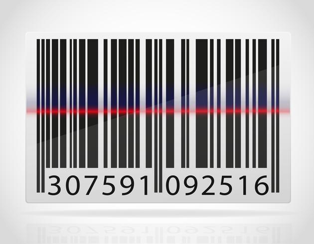Código de barras con la tira de la ilustración vectorial de láser