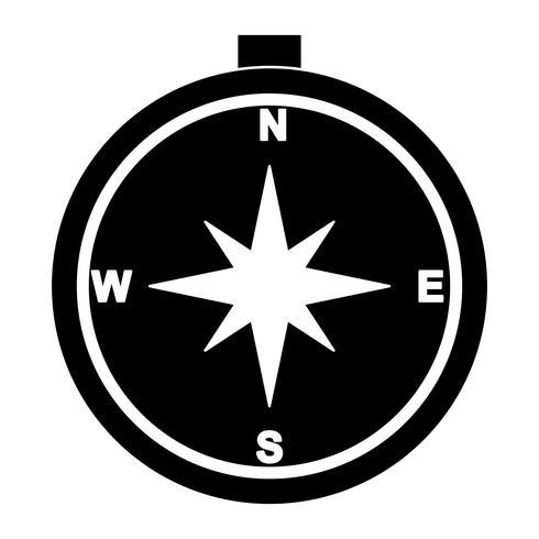 Brújula Glifo Negro Icono vector