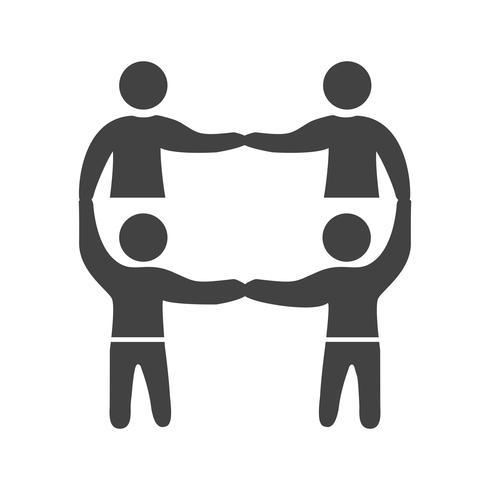 Teamwerk Glyph Black-pictogram