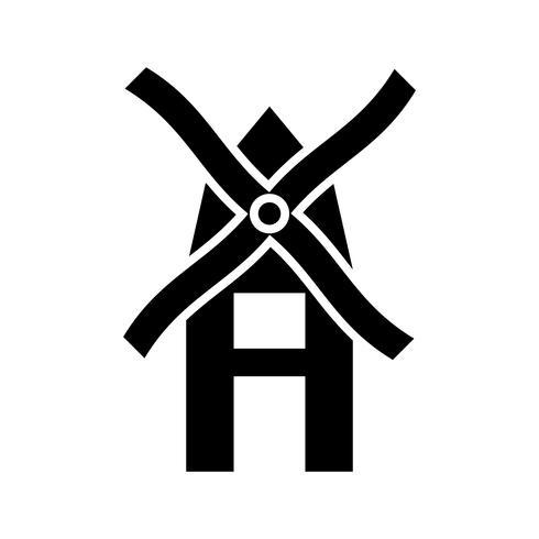 Icona del glifo del mulino a vento nero