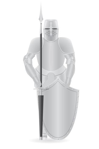 armure de chevalier avec illustration vectorielle lance et bouclier vecteur