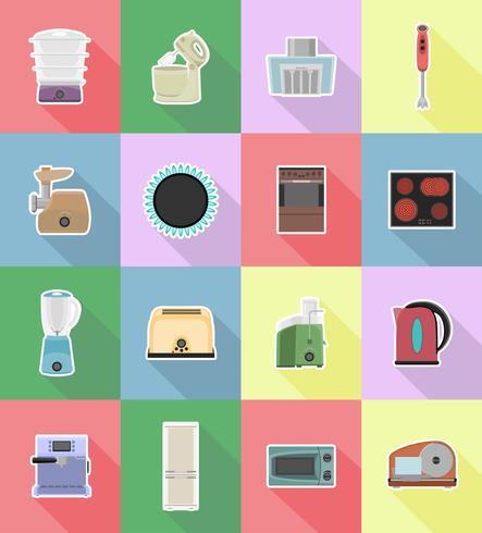 Electrodomésticos para los iconos planos de cocina vector illustration