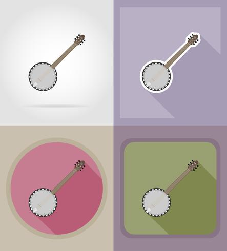 banjo flat icons vector illustration