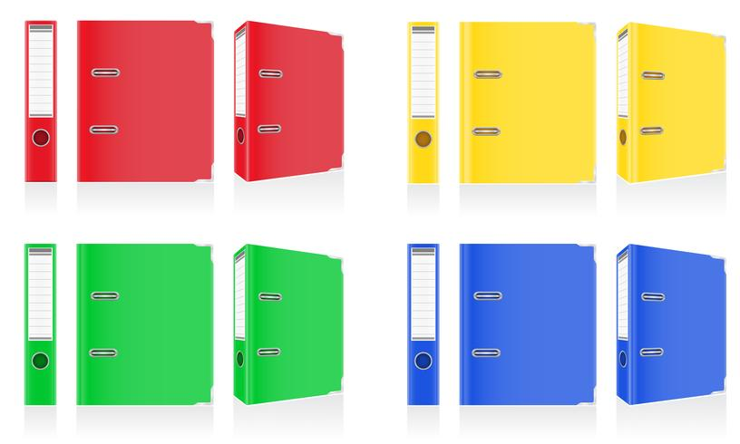 folder colors binder metal rings for office vector illustration