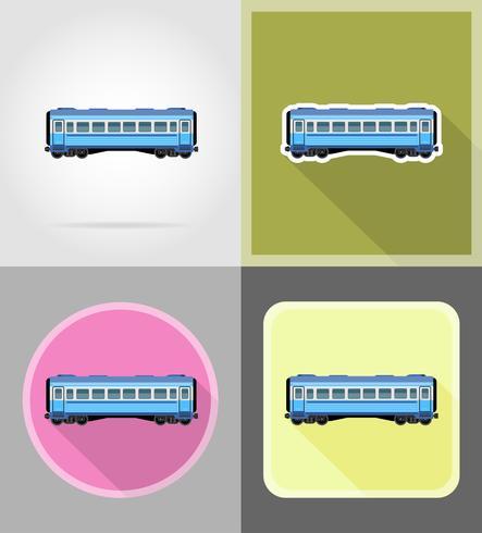 järnvägsvagn tåg platt ikoner vektor illustration