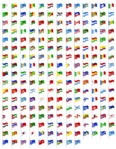 establecer iconos banderas de la ilustración de vector de países del mundo