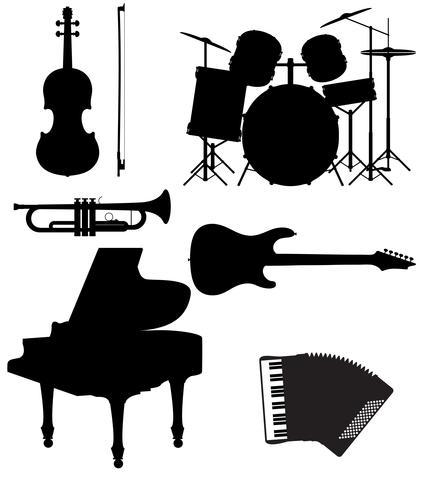 sätta ikoner siluetter av musikinstrument vektor illustration