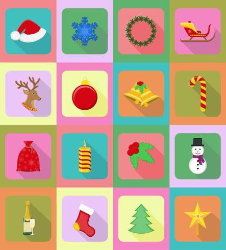 Navidad y año nuevo iconos planos vector ilustración