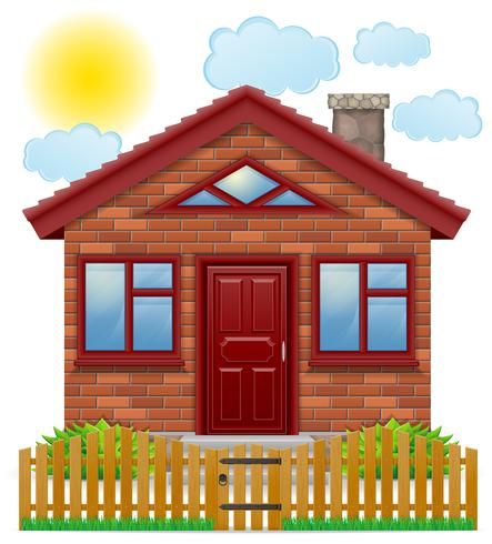 petite maison de campagne avec une illustration vectorielle de clôture en bois vecteur