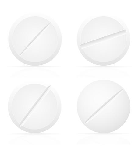 comprimidos médicos brancos para ilustração vetorial de tratamento