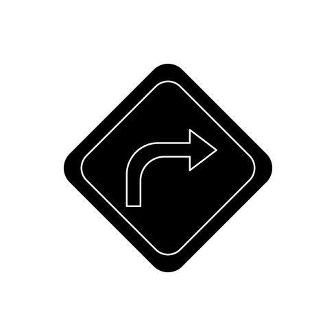 Höger sväng Glyph Black Icon