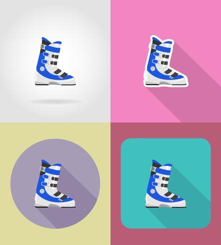 Botas de esquí iconos planos vector illustration