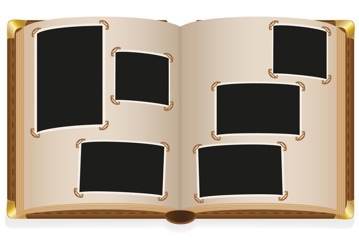 viejo álbum de fotos abierto con fotos en blanco vector ilustración