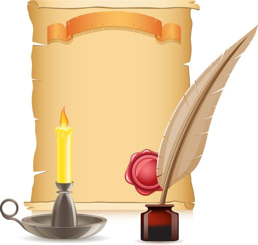 old paper conflagrant candle and feather with inks vector