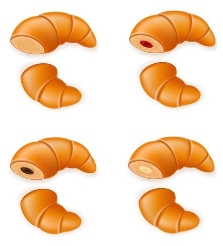 ställa in ikoner av färska krispiga croissanter med syltchoklad och kräm vektor illustration