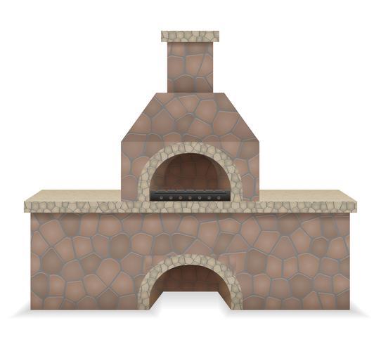 barbecue oven gebouwd van steen vectorillustratie