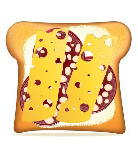 Ilustración de vector de queso y salchicha tostada con mantequilla