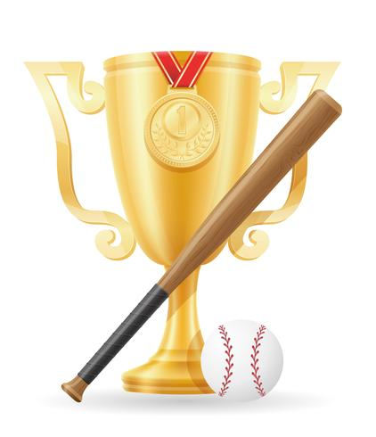 Copa de béisbol ganador oro stock vector ilustración