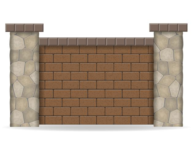 stone fence vector illustration
