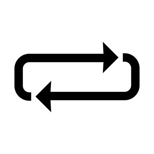 Icône de boucle glyphe noir vecteur