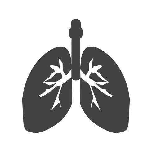 Ícone de glifo preto de pulmões