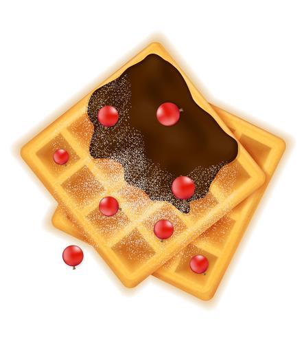 Gofre belga con postre dulce de chocolate para la ilustración de vector de desayuno