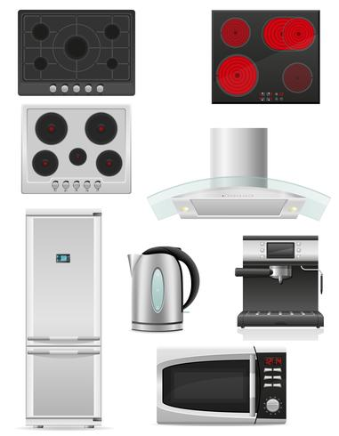 conjunto de ilustración vectorial de electrodomésticos de cocina