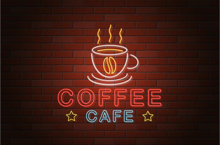 glühende Neonschild Kaffee Café Vektor-Illustration