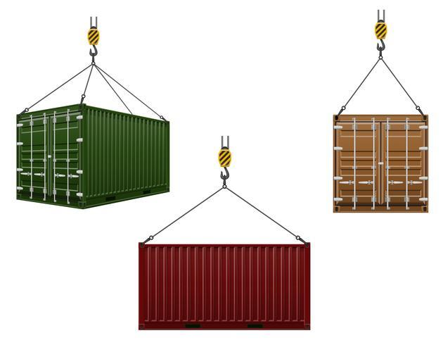 conteneur suspendu au crochet d'une illustration vectorielle de grue