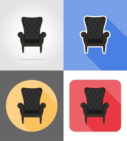 illustrazione piana di vettore delle icone stabilite della mobilia della poltrona
