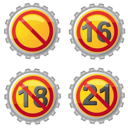 Tapas de cerveza con prohibición en la ilustración de vector de edad