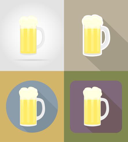 Objetos de cristal de cerveza y equipo para la ilustración de vector de comida