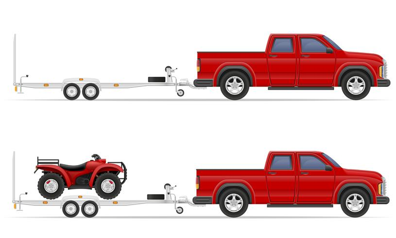 Autoabholung mit Anhängervektorillustration