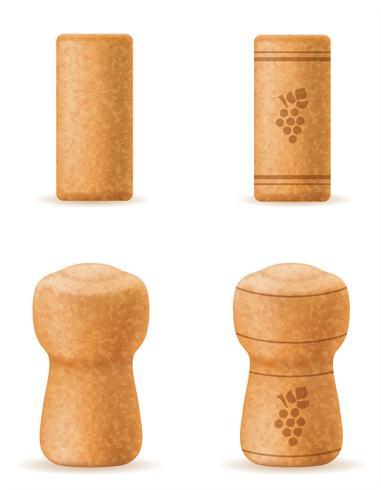sughero corkwood per vino e bottiglia di champagne illustrazione vettoriale