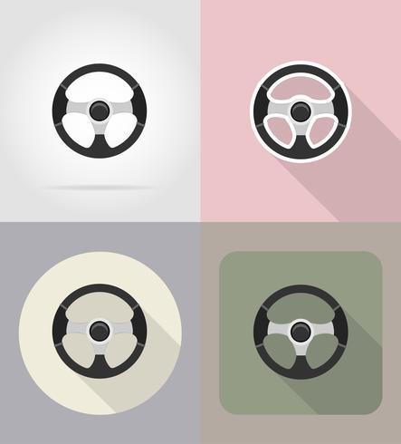 Ilustración de vector de iconos planos de volante de coche