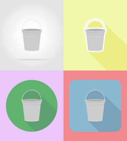 garden equipment metal bucket flat icons vector illustration