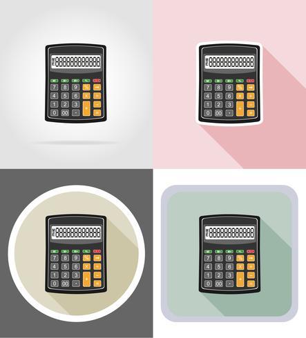 matériel de papeterie calculatrice set plats icônes illustration vectorielle