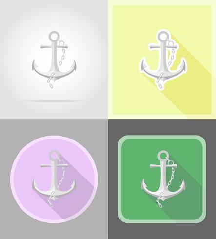 ankare platta ikoner vektor illustration