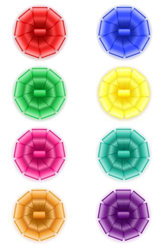 stel pictogrammen boog voor cadeau vectorillustratie