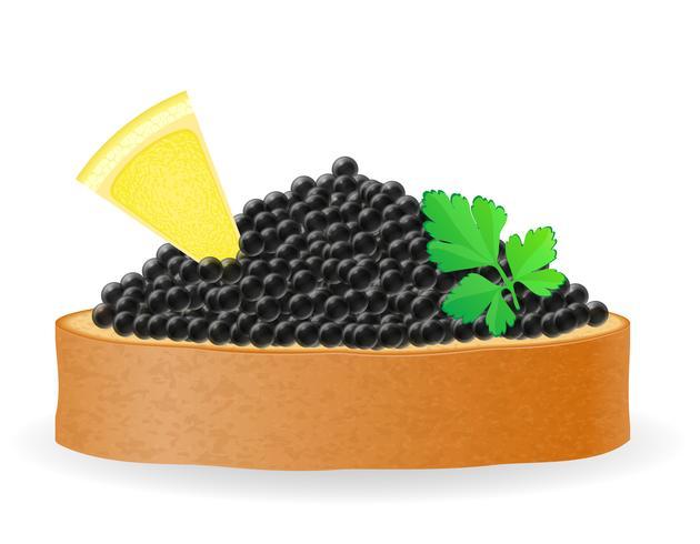 smörgås med svart kaviar citron och persilja vektor illustration