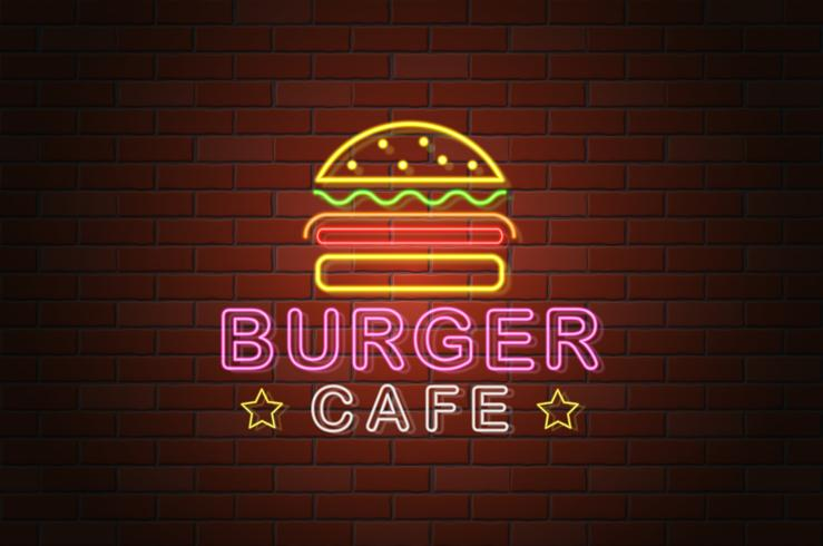 glühende Neonschild Burger Cafe Vektor-Illustration