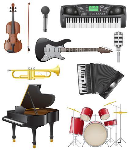 stel pictogrammen van muziekinstrumenten vectorillustratie