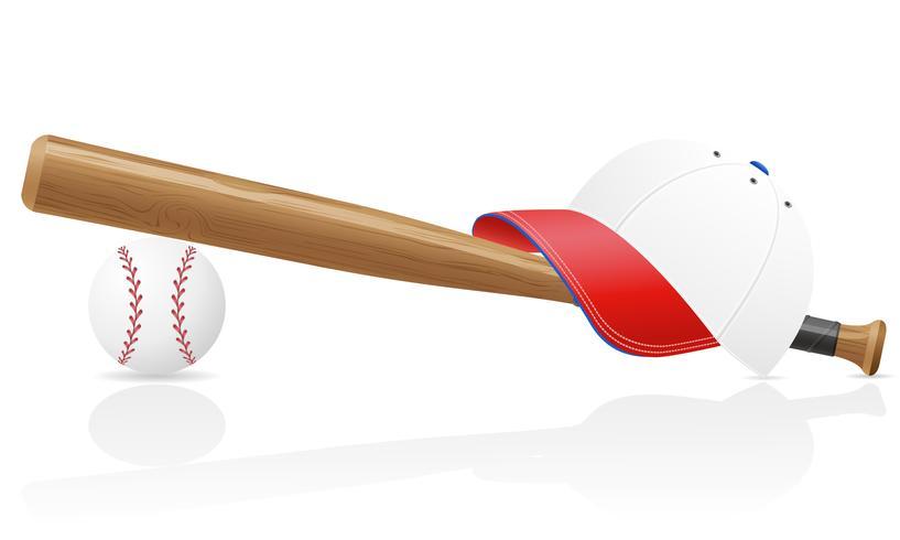 illustrazione vettoriale di baseball ball cap e bit